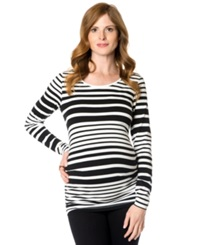 A Pea In The Pod Maternity Long Sleeve Striped Ruched Tee White Black