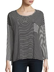 Bobeau Striped Dropped Shoulder Tee Black White