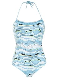 Amir Slama Printed Swimsuit Blue