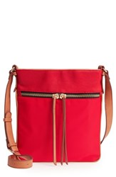 Sondra Roberts Nylon And Faux Leather Crossbody Bag Red