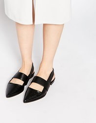 Whistles Black Rye Slingback Leather Pointed Flat Shoes