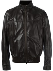 Herno Zip Up Leather Jacket Brown