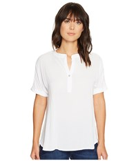 Allen Allen Tab Collar High Low Henley Top White Women's Clothing