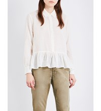 The Great Ruffle Oxford Cotton Shirt Cream