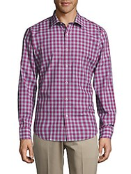 Bugatchi Wovens Casual Checked Shaped Fit Cotton Shirt Fuchsia