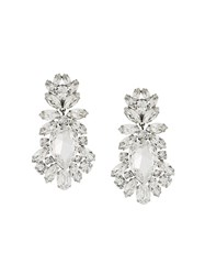 Dolce And Gabbana Drop Crystal Clip On Earrings Metallic