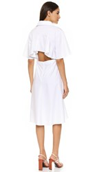 Shakuhachi Frenchy Flared Back Shirt Dress White