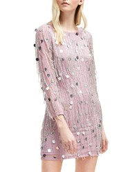 French Connection Baani Fringe Beaded Dress Dark Lavender Frost
