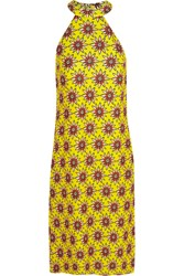 House Of Holland Flower Power Printed Satin Twill Midi Dress Yellow