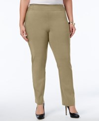 Jm Collection Plus Size Tummy Control Pull On Slim Leg Pants Meadow Trail