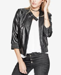 Guess Gabe Faux Leather Bomber Jacket Jet Black