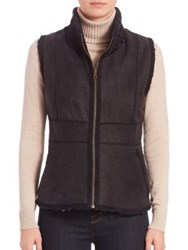 Carmen Marc Valvo Reversible Persian Lamb Fur Vest Brown