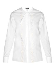 Rochas Flower Applique Poplin Shirts White