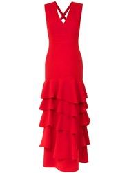Olympiah Ruffled Gown Polyester Spandex Elastane Red