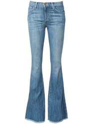Current Elliott 'The High Rose Low Bell' Raw Edge Flared Jeans Blue