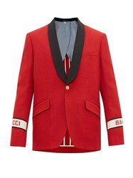 Gucci Single Breasted Band Logo Wool Jacket Red