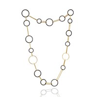 Manja Koco Midnight Circles Long Necklace Gold Black