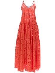Daizy Shely Broderie Anglaise Maxi Dress Yellow And Orange