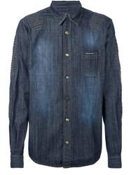 Philipp Plein Ribbed Panel Denim Shirt Blue