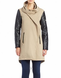 Vince Camuto Faux Leather Sleeve Asymmetrical Zip Coat Mushroom