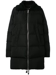 Dsquared2 Shearling Collar Padded Coat Women Cotton Feather Down Polyester Lamb Fur 42 Black