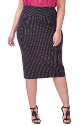 Michel Studio Plus Size Women's Pinstripe Pencil Skirt