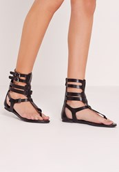 Missguided Strappy Ankle Flat Gladiator Sandals Black