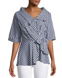 Philosophy Half Sleeve Tie Front Gingham Blouse Blue
