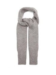Mhl By Margaret Howell Ribbed Trim British Wool Scarf Grey