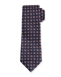 Isaia Woven Neat Square Silk Tie Blue