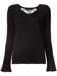 Derek Lam Patterned Back V Neck Sweater Black