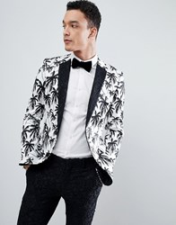 Asos Edition Super Skinny Suit Jacket In Black And White Palm Tree Print With Contract Black Lace Lapel