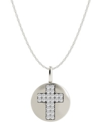 Macy's Diamond Double Cross Disk Pendant Necklace In 14K White Gold 1 10 Ct. T.W.