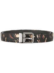 Dolce And Gabbana Embroidered Camouflage Belt Black