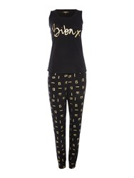 Biba Jersey Signature Vest Pj Set Black