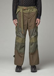 Sacai 'S Fabric Combo Pant In Khaki Size 1 Cotton Polyester Paneling
