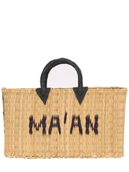 Ma'an Medium Logo Woven Straw Tote Bag