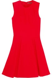Alexander Mcqueen Pleated Wool And Silk Blend Mini Dress Red