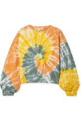 Agolde Tie Dyed Cropped Cotton Jersey Sweatshirt Yellow
