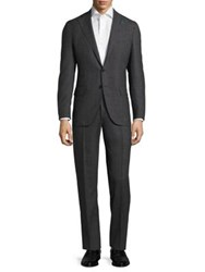 Isaia Slim Fit Micro Graph Check Wool Suit Dark Grey