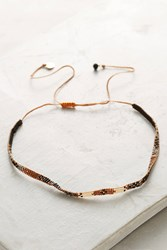 Anthropologie Luciana Beaded Choker Necklace Brown