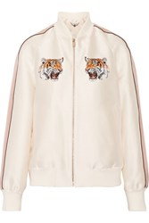Stella Mccartney Lorinda Embroidered Duchesse Satin Bomber Jacket Ivory