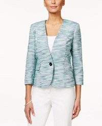 Kasper Petite One Button Tweed Jacket Green