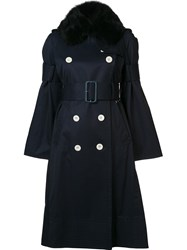 Sacai Fur Collar Trenchcoat Blue
