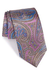 David Donahue Men's Paisley Silk Tie Pink