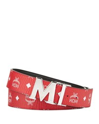 Mcm Claus Reversible Visetos Logo Buckle Belt Red
