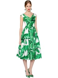 Dolce And Gabbana Leaves Print Cotton Poplin V Neck Dress
