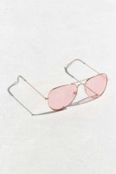 Urban Outfitters Pink Top Gun Aviator Sunglasses Gold
