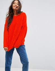 Asos Jumper In Cable With Volume Sleeves Coral Pink