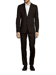 Versace Woolen Solid Suit Black